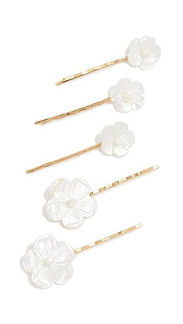 Jennifer Behr Mother of Pearl Flower Bobby Pin Set