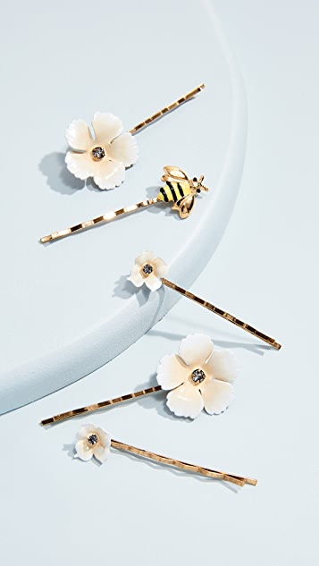 Jennifer Behr Flower & Bee Bobby Pin Set zrqmk0x