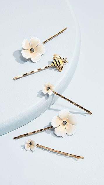 Jennifer Behr Flower & Bee Bobby Pin Set Wwl7cO6CZL