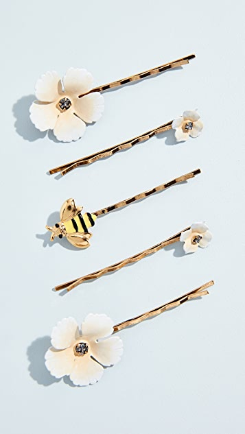Flower & Bee Bobby Pin Set by Jennifer Behr