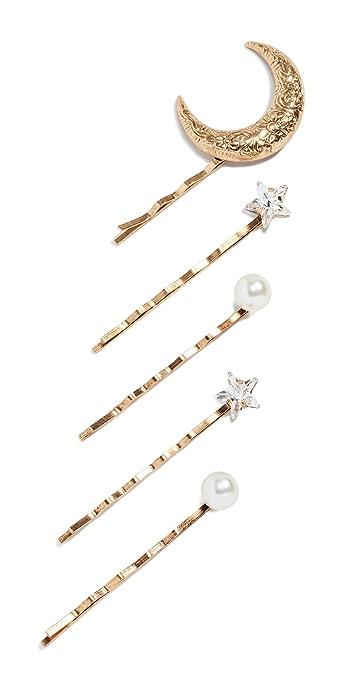Jennifer Behr Oberon Bobby Pin Set of 5 - Crystal/Antique Gold
