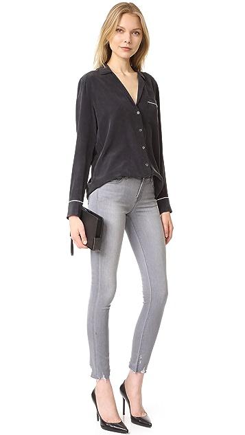 J Brand 811 Mid Rise Skinny Jeans with Raw Hem