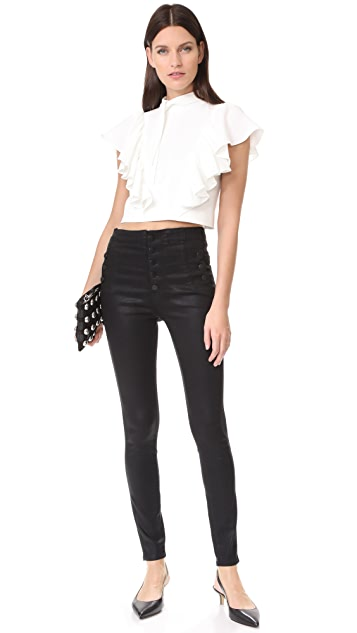 J Brand Natasha Sky High Coated Skinny Jeans