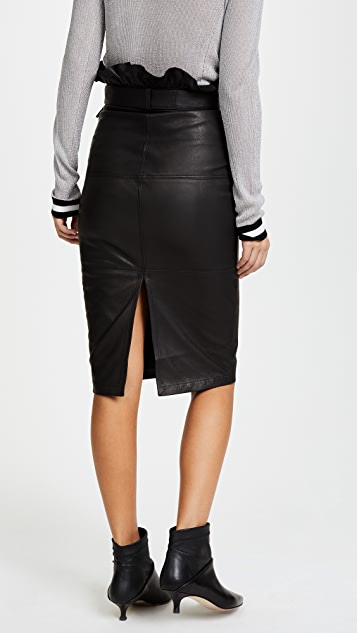J Brand Claudia Leather Midi Skirt