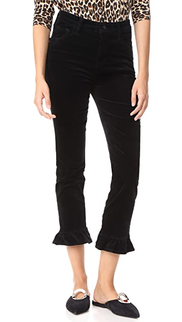 J Brand Ruby High Rise Crop Frill Velvet Pants