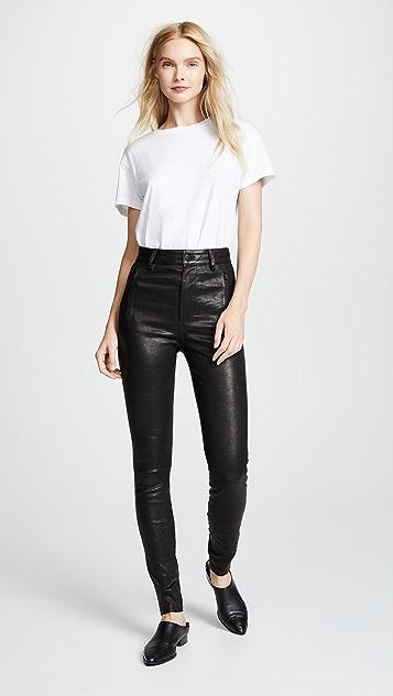 J Brand Lora Super High Rise Leather Skinny Jeans