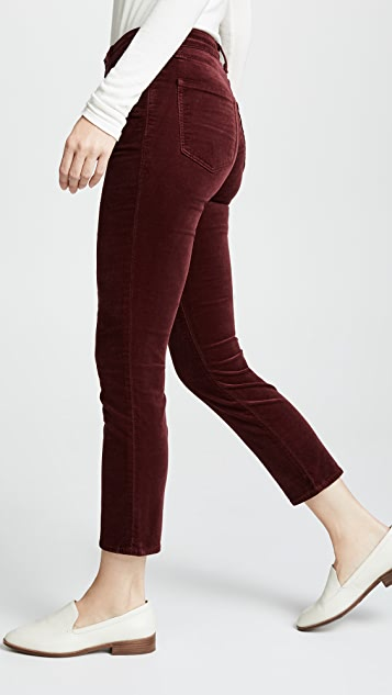 J Brand Ruby High Rise Velvet Crop Cigarette Pants