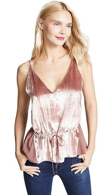 J Brand Lucy Peplum Velvet Camisole