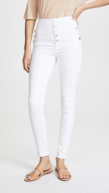 J Brand Natasha Sky High Skinny Jeans - Blanc