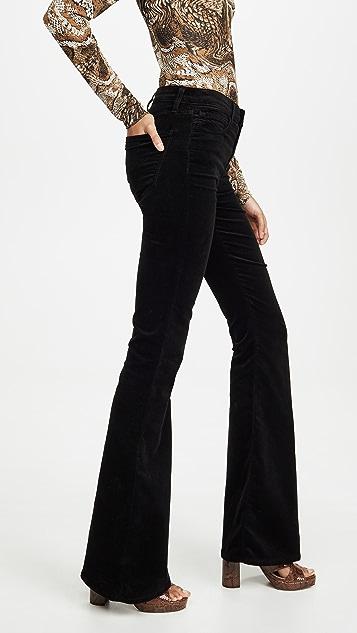 J Brand Valentina 天鹅绒高腰喇叭裤