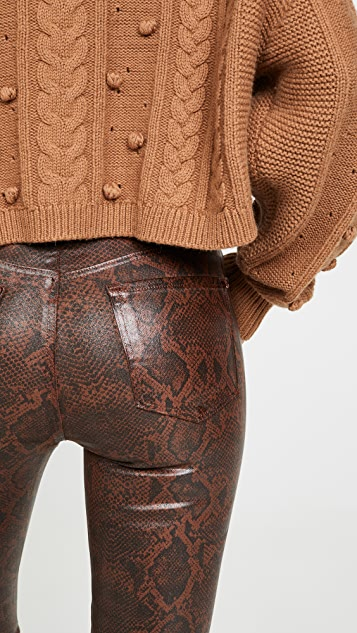 J Brand Укороченные джинсы-скинни с высокой посадкой Alana из ткани с покрытием