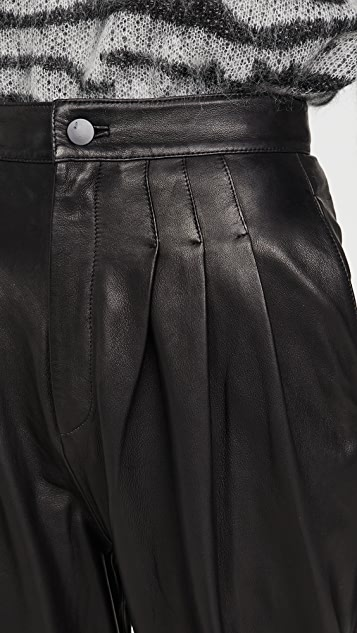 J Brand Nila Leather Pleated Trousers