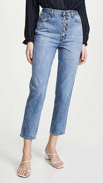 J Brand Heather 高腰系扣门襟牛仔裤