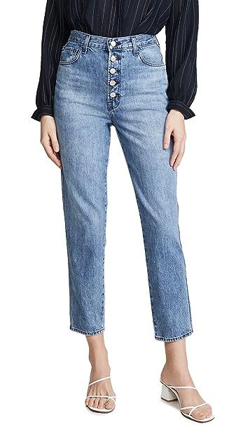 J Brand Меланжевые джинсы с высокой посадкой и гульфиком на пуговицах
