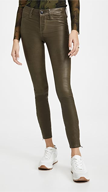 J Brand Mid Rise Leather Skinny Pants