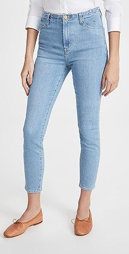 J Brand - 捏褶高腰中长紧身牛仔裤