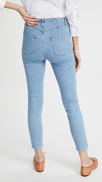 J Brand Darted High Rise Crop Skinny Jeans