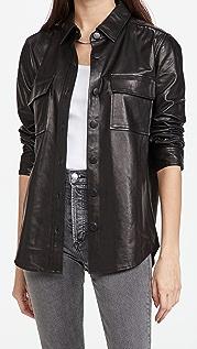 J Brand Oversized Leather Shirt Jacket