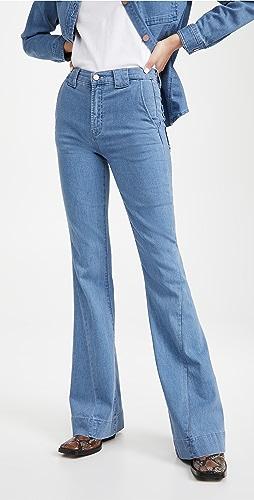 J Brand - 扭褶接缝细节喇叭牛仔裤