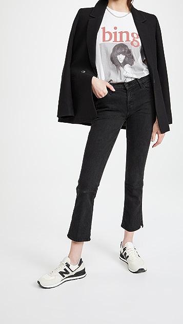 J Brand Mid Rise Straight Split Hem Jeans