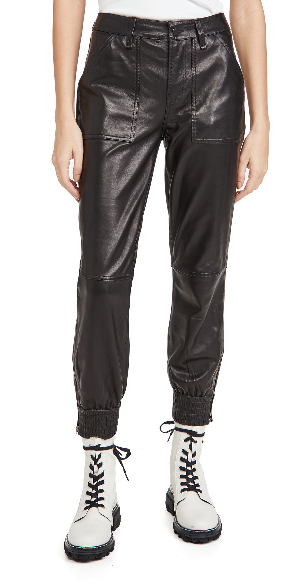 J Brand Arkin Leather Zip Joggers