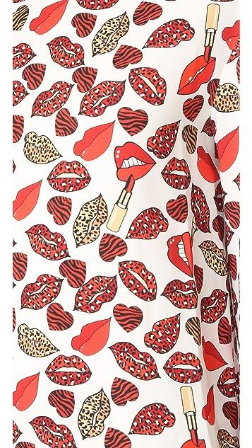 Just Cavalli Crazy Lips Print Dress
