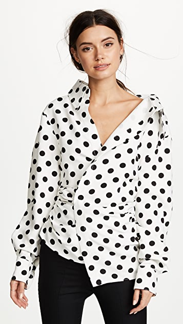 Fabulous Jacquemus Polka Dot Asymmetrical Blouse | SHOPBOP &PS92