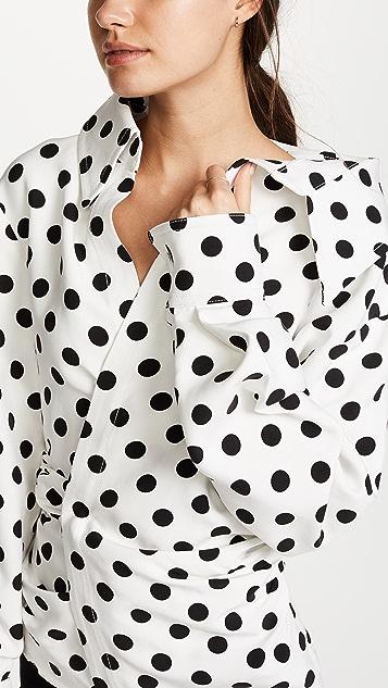 Jacquemus Polka Dot Asymmetrical Blouse