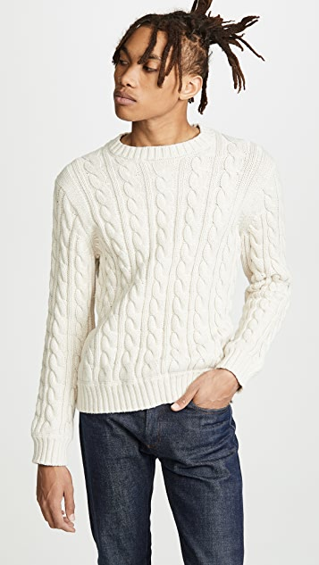 J. Crew Cotton Heritage Cable Crew Neck Sweater