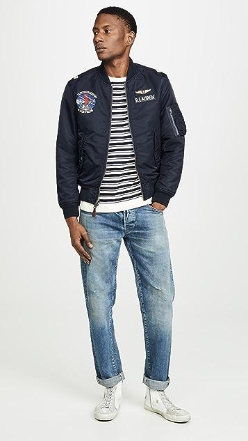 J. Crew Allover Double Stripe Crew Neck Sweatshirt