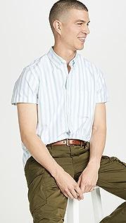 J. Crew Short Sleeve Pima Stretch Oxford Striped Shirt