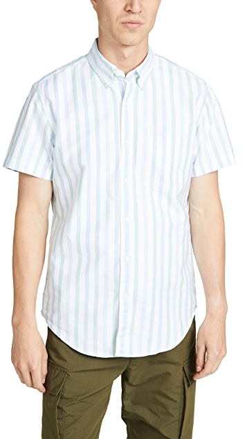 J. Crew Short Sleeve Pima Stretch Oxford Striped Shirt