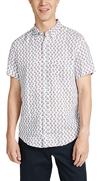 J. Crew Short Sleeve Delave Linen Bird Print Shirt