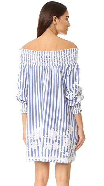Juliet Dunn Off the Shoulder Striped Dress