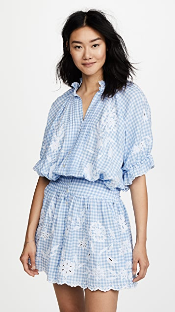 Juliet Dunn Embroidered Gingham Mini Dress