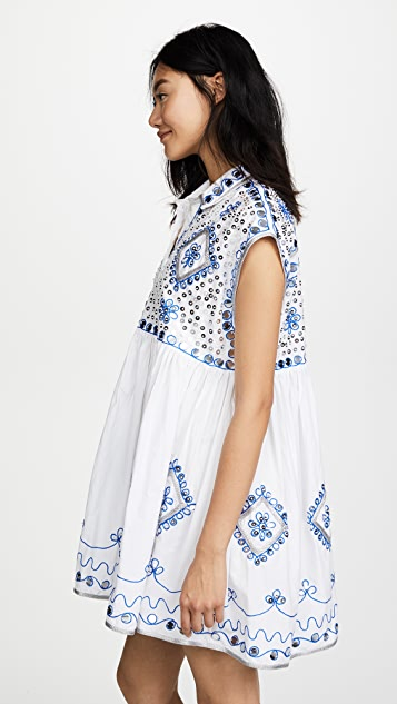 Juliet Dunn Embroidered Poncho Shirt Dress