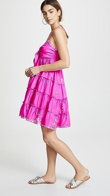 Juliet Dunn Silk Bow Tie Front Dress with Mirror Detailing