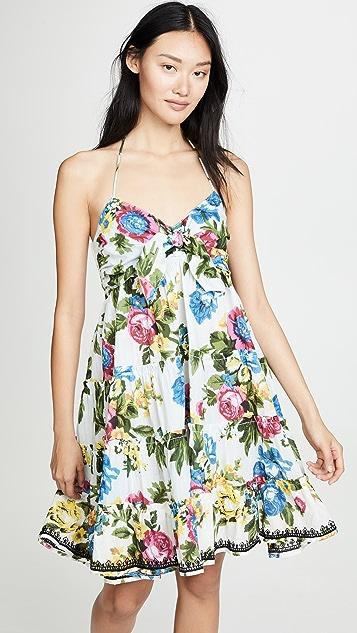 Juliet Dunn Tie Front Mini Dress - White/Multi/Black