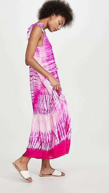 Juliet Dunn Silk Tie V Neck Cover Up Maxi Dress