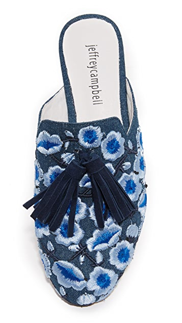Jeffrey Campbell Apfel Embroidered Tassel Mules