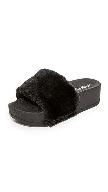 f7846b07fac9 Jeffrey Campbell Lucky Me Platform Faux Fur Slides