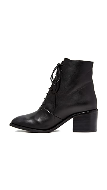 Jeffrey Campbell Talcott Stacked Heel Lace-Up Booties