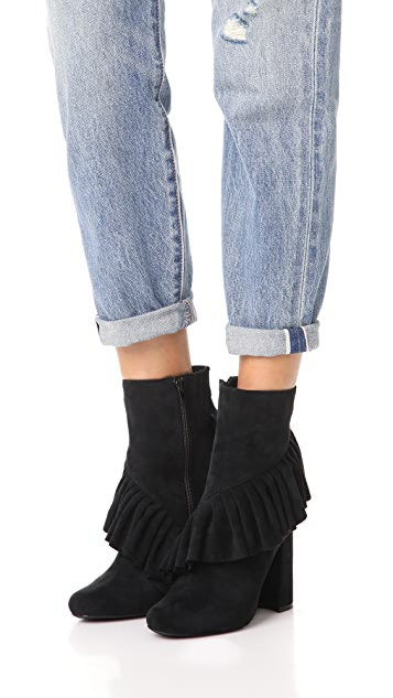 Jeffrey Campbell Reilly Ruffle Stretch Ankle Booties