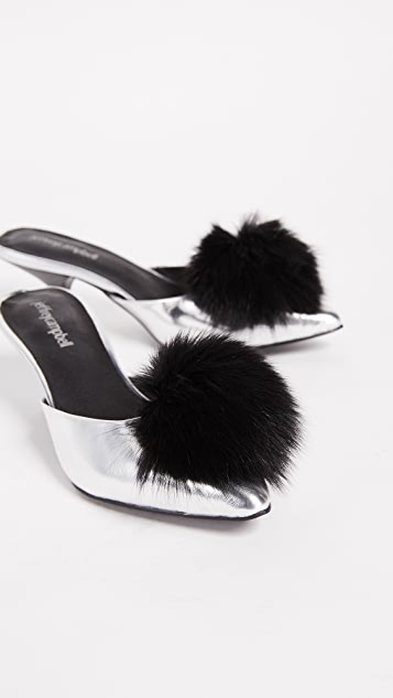 Jeffrey Campbell Jena2 Point Toe Pom Pom Mules