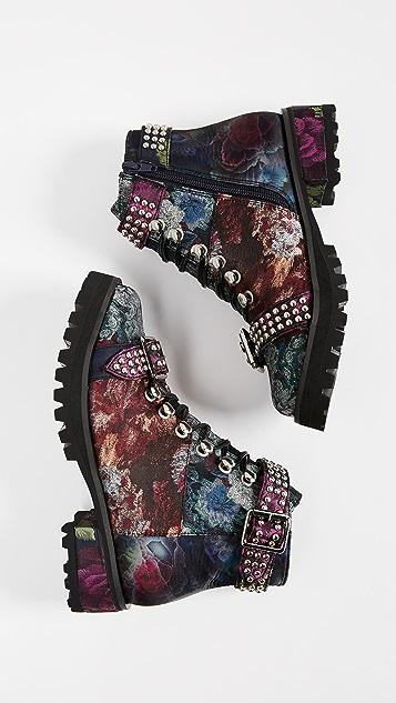 Jeffrey Campbell Yannick Floral Combat Boots