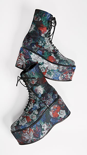 Jeffrey Campbell Bonfire Floral Platform Combat Boots