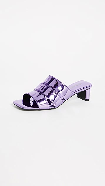Jeffrey Campbell Rhymes Metallic Slide Sandals