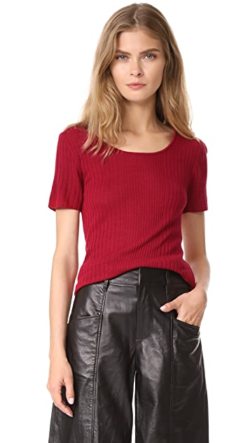 Jenni Kayne SS Mix Rib Scoop Neck