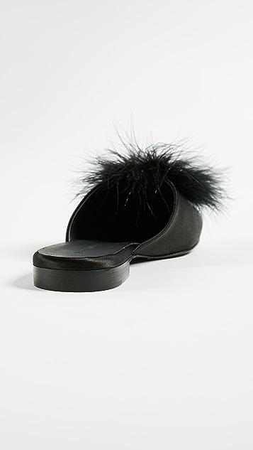 Jenni Kayne Satin Slippers with Puffs