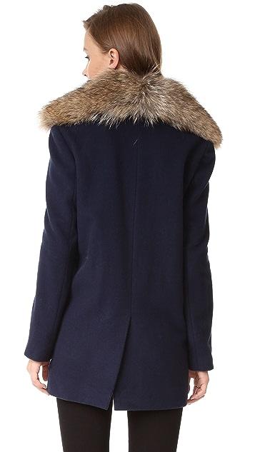 Jenni Kayne Peacoat with Fur Collar